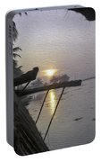 View Of Sunrise From The Window Of A Houseboat Portable Battery Charger