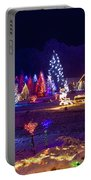 Village In Christmas Lights Panoramic View Portable Battery Charger