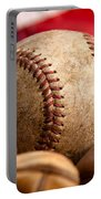 Vintage Baseball Portable Battery Charger