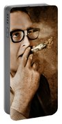Vintage Business Man Smoking Money In Success Portable Battery Charger