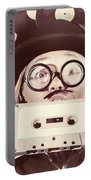 Vintage Music Woman Giving Thumb Up To Retro Songs Portable Battery Charger
