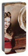 Vintage Pin-up Girl Listening To Record Player Portable Battery Charger