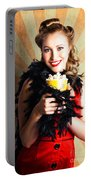 Vintage Woman Eating Popcorn At Movie Premiere Portable Battery Charger