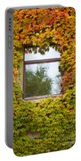 Wall Overgrown With Fall Colored Vine And Ivy Portable Battery Charger