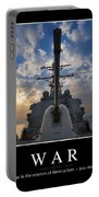 War Inspirational Quote Portable Battery Charger by Stocktrek Images