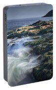 Waves Crashing Against The Shore In Acadia National Park Portable Battery Charger