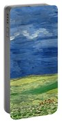 Wheatfield Under Thunderclouds Portable Battery Charger