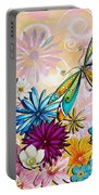 Whimsical Floral Flowers Dragonfly Art Colorful Uplifting Painting By Megan Duncanson Portable Battery Charger