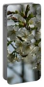 White Cherry Blossoms Portable Battery Charger
