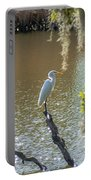 White Heron In Magnolia Cemetery Portable Battery Charger
