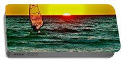 Windsurfer At Sunset On Lake Michigan From Empire-michigan  Portable Battery Charger