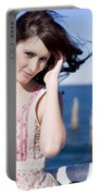 Windy Hair Woman Portable Battery Charger