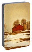 Wisconsin Barn In Winter Portable Battery Charger