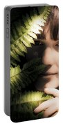 Woman Hiding Behind Fern Leaf Portable Battery Charger