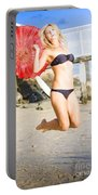 Woman In Bikini Jumping Portable Battery Charger