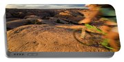 Woman Mountain Biking, Moab, Utah Portable Battery Charger