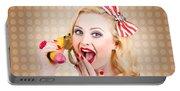 Woman On Banana Telephone. Health Eating News Portable Battery Charger