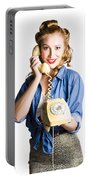 Woman With Retro Telephone Portable Battery Charger