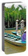 Women Waiting For Passengers On Mekong River Canal-vietnam Portable Battery Charger