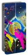 World Map And Barack Obama Stars Portable Battery Charger by Augusta Stylianou