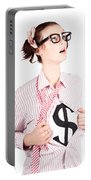 Young Businesswoman Super Hero Showing Dollar Sign Portable Battery Charger