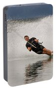 Young Man Waterskiing On Lake Koocanusa Portable Battery Charger