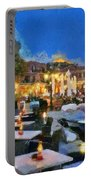 Molyvos Town In Lesvos Island Portable Battery Charger