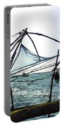 Fishing Nets On The Sea Coast In Alleppey Portable Battery Charger