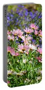 Background Of Colorful Flowers Portable Battery Charger