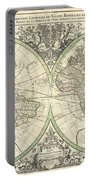 1691 Sanson Map Of The World On Hemisphere Projection Portable Battery Charger