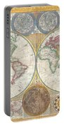 1794 Samuel Dunn Wall Map Of The World In Hemispheres Portable Battery Charger by Paul Fearn