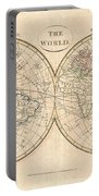 1799 Cruttwell Map Of The World In Hemispheres Portable Battery Charger