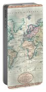 1801 Cary Map Of The World On Mercator Projection Portable Battery Charger