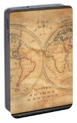 1833 School Girl Manuscript Wall Map Of The World On Hemisphere Projection  Portable Battery Charger