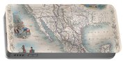 1851 Tallis Map Of Mexico Texas And California  Portable Battery Charger