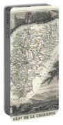 1852 Levasseur Map Of The Department La Charente France Cognac And Pineau Wine Region Portable Battery Charger