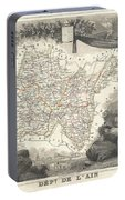 1852 Levasseur Map Of The Department L'ain France Bugey Wine Region Portable Battery Charger
