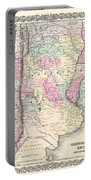 1855 Colton Map Of Argentina Chile Paraguay And Uruguay Portable Battery Charger