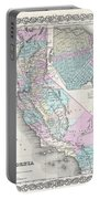 1855 Colton Map Of California And San Francisco Portable Battery Charger