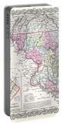 1855 Colton Map Of Delaware Maryland And Washington Dc Portable Battery Charger