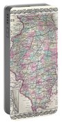 1855 Colton Map Of Illinois Portable Battery Charger