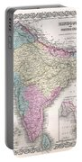 1855 Colton Map Of India Portable Battery Charger