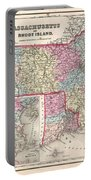 1857 Colton Map Of Massachusetts And Rhode Island Portable Battery Charger