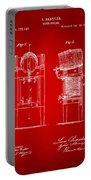 1876 Beer Keg Cooler Patent Artwork Red Portable Battery Charger