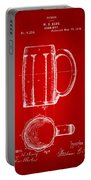 1876 Beer Mug Patent Artwork - Red Portable Battery Charger