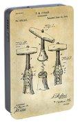 1883 Wine Corckscrew Patent Art - Vintage Black Portable Battery Charger