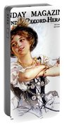 1900s 1913 Smiling German Girl Wearing Portable Battery Charger