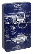 1903 Colt Revolver Patent Drawing Blue Portable Battery Charger