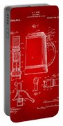 1914 Beer Stein Patent Artwork - Red Portable Battery Charger by Nikki Marie Smith
