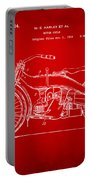 1924 Harley Motorcycle Patent Artwork Red Portable Battery Charger by Nikki Marie Smith